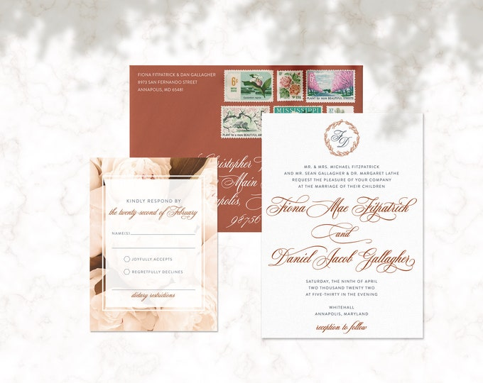 Modern Protea Wedding Suite | Custom Wedding Invitations | Wedding Suite