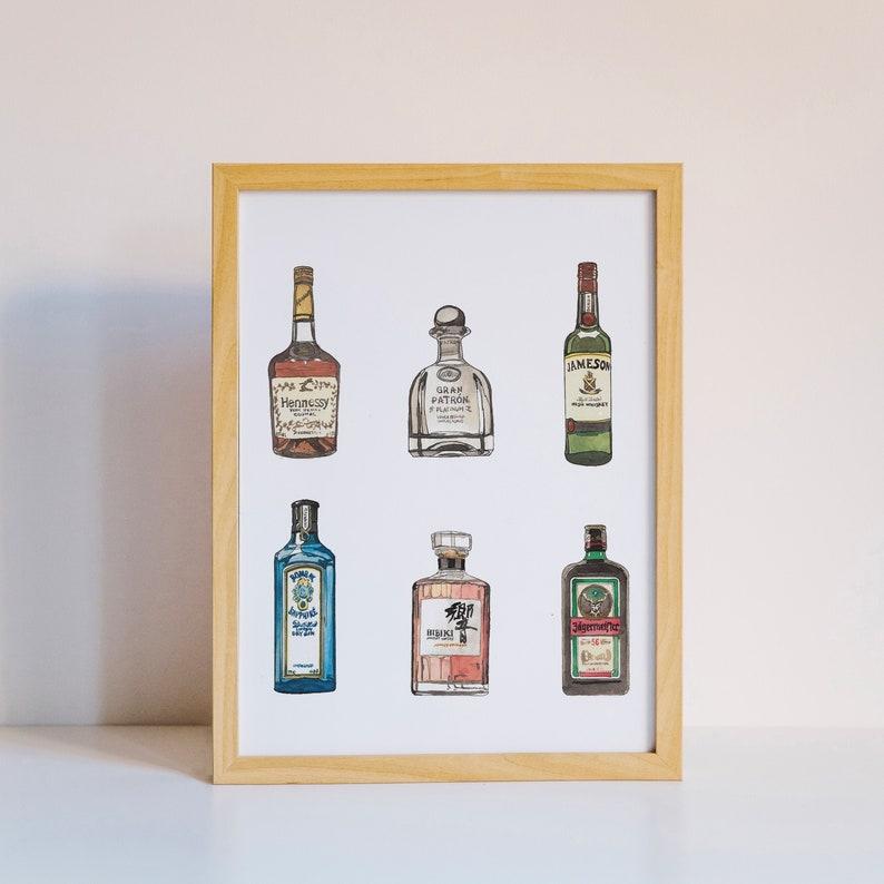 Alcohol Art Print  Single Bottle  Watercolor Print image 0