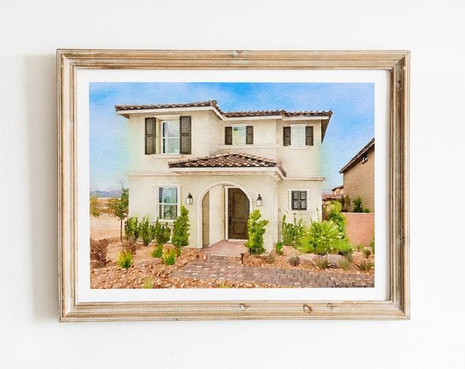 Custom Building Watercolor Print | Art Print | House Art Print | Digital