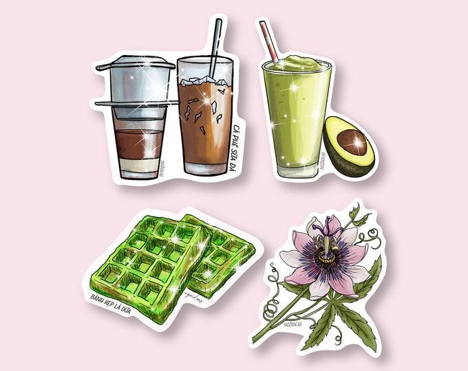 Vietnamese Food Vinyl Stickers | Banh Xeo | Ca Phe Sua Da | Waffles