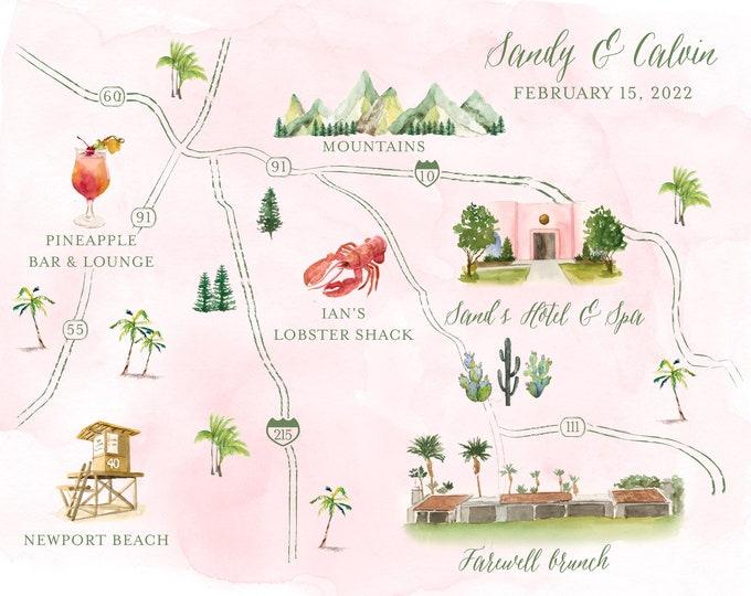 Custom Watercolor Digital Map | Wedding Map