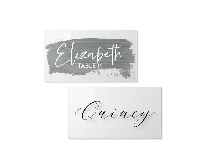 Acrylic Name Plate | Modern Calligraphy Name Card | Wedding Place Card | Custom Acrylic Escort Card | Party Favors