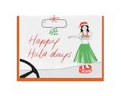 Letterpress Holiday Cards, Summer, Happy Holidays, Huladays Hula Girl, Hawaii, Dashboard Hula, Vintage, Mid Century, Hand Lettering, HOL09