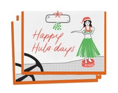 Letterpress Holiday Cards, Summer, Happy Holidays, Huladays Hula Girl, Hawaii, Dashboard Hula, Vintage, Mid Century, Hand Lettering, HOS09