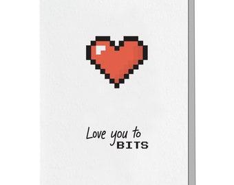 Letterpress Love Card, 8 Bit, 16 Bit, Gamer, Nintendo, Atari Zelda, Mario Minecraft, 80s, 90s, Punny Pun, Retro, Nerdy LOG11