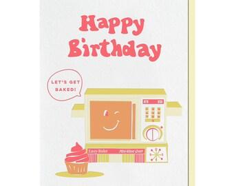 Letterpress Birthday Card, Pun Punny, Easy Bake Oven, Baker, Cupcake, Vintage Inspired, 50s 60s, BIT23