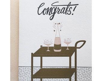 Letterpress Congratulations Card, Mid Century Bar Cart, Blush, Navy, Gold, Champagne, Celebration, Wedding Marriage, hand lettering, COG01