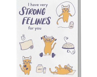Letterpress Card, Love Card, Mid Century Cats, Categorically Pun, Punny Funny, Retro 60s, Strong Felines, Cat Pun Lover, LOG12