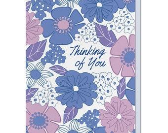 Letterpress Thinking of You Card, Everyday Card, Flowers, Retro Mid Century, EDY08
