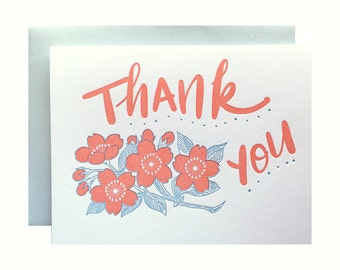 Letterpress Thank You Card, Retro Floral, coral pink blue, hand lettering, brush lettering, mid century, 60s, pretty flowers, THA01