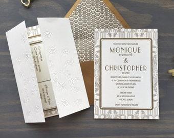 Gatsby Letterpress Wedding Suite, Art Deco Art Noveau, Luxury Wedding Invitation, Gold White, Titanic Era, Vintage Debossed, Custom