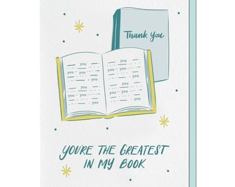 Letterpress Thank You Card, Book Lover, Book Pun Punny, mid-century, unique, hand lettering, rooster, THA05