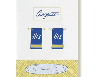 Letterpress Wedding Card, His Her Towels, Gay Couple, New Couple, 60s 70s mid century inspired, hand lettering, WEM03
