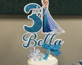 Frozen Cake Topper Inspired Party Birthday Personalized Centerpiece Elsa