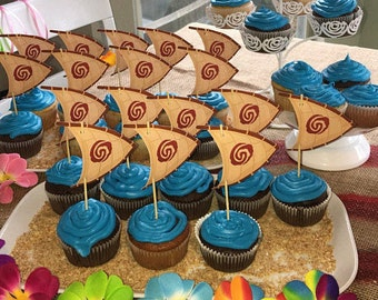 Moana Cupcake Toppers Sailboat Party Decoration Tableware 18 Ct