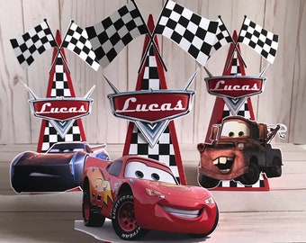 Lightning McQueen Favor BagsCars Boxes Personalize Cars Birthday Party Tableware Decoration Set Of 6