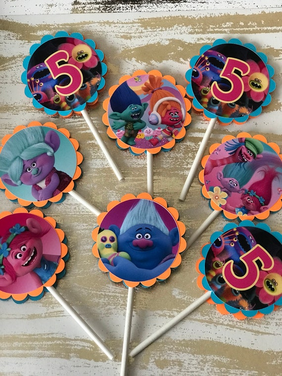 Trolls Cupcake Topper Party Birthday