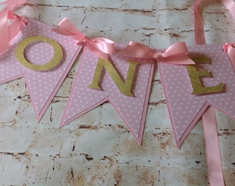 First birthday banner, pink and gold banner, pink and gold party,baby birthday,Highchair banner.Happy Birthday gold banner