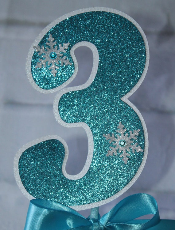 Frozen Birthday Party Number Snowflake Wands Table