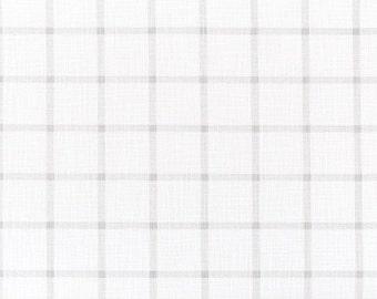 Premier Prints Aaron French Gray Slub Canvas, Grey & Off-White, Windowpane, Check, By The Yard, Print Upholstery Drapery, Modern Farmhouse