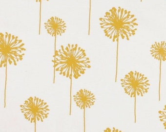 Premier Prints Dandelion Slub Yellow on White Fabric By The Yard, Home Decor Floral Print Upholstery Drapery, Modern Print, Cotton Duck