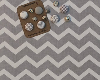 "Bulletin boards - Fabric Cork Board Pin Board (30"" x 30"") grey chevron Decorative bulletin boards Office organizer Dorm organization"