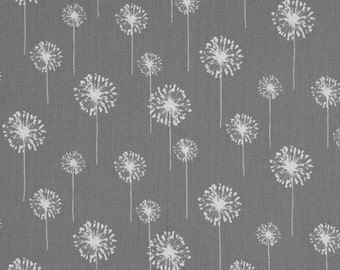 Premier Prints Small Dandelion White on Storm Grey Fabric By The Yard, Home Decor Floral Print Upholstery Drapery, Modern Print, Cotton