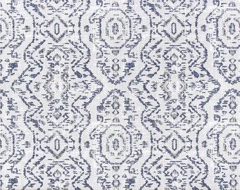 Premier Prints Jazmin Space Blue Slub Linen, Linen/Cotton, Dark Blue & Gray, Fabric By The Yard, Upholstery Drapery, Modern Native Trend
