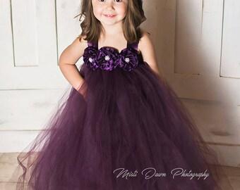 6ce0aa3cbae Dark Purple Flower Girl Dress