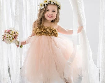 c01ad2fc2417 Blush and Gold Flower Girl Dress, Blush Flower Girl Dress, Blush Tutu Dress,  Blush and Gold Tutu Dress, Flower Girl Dress, Rose Gold Dress.