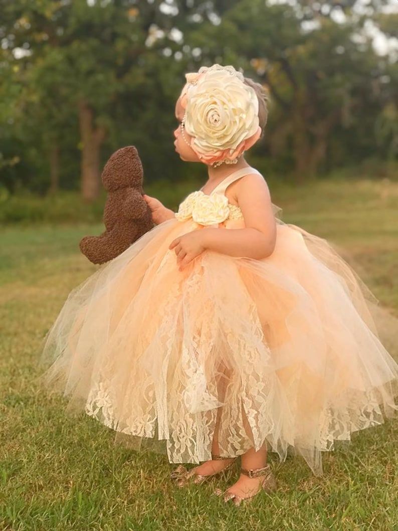7359fcd73ee Ivory and Lace Flower Girl Dress CHOOSE YOUR COLORS Peach