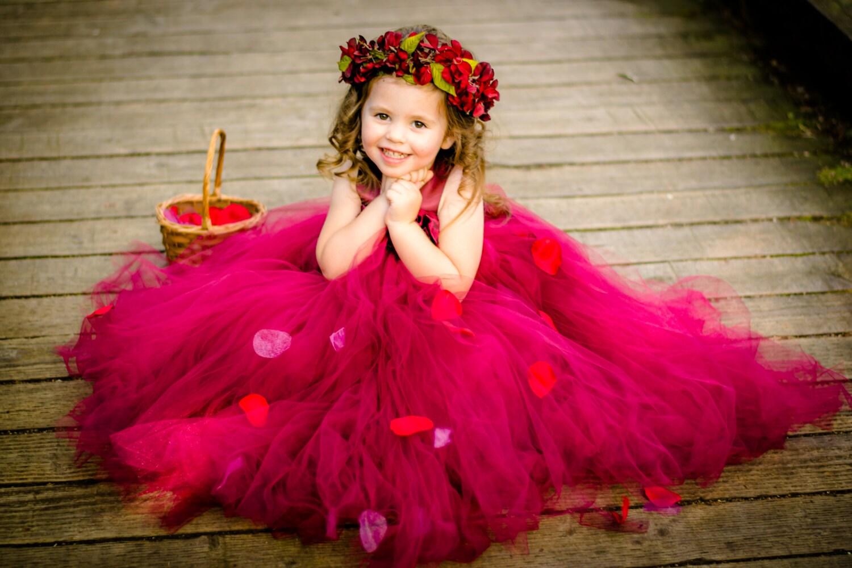 Burgundy Flower Girl Dress Marsala Flower Girl Dress Flower Etsy