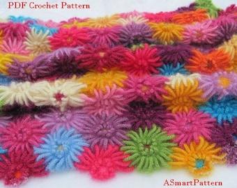PDF Crochet Pattern-Crochet Dahlia Garden Blanket,Afghan,Bedspread,Throw by ASmartPattern,PDF file #12