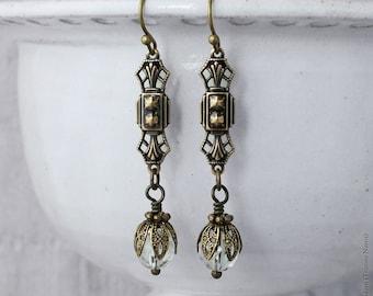 Art Deco Earrings, Antiqued Gold Brass Earrings, Edwardian Style Crystal Earrings, 1920's Ear Rings, Art Deco Jewellery, Handmade UK