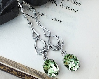Pale Green Art Nouveau Style Earrings, Antiqued Silver Earrings with Chrysolite Swarovski Crystal, Vintage Style, Bridesmaid, Handmade UK