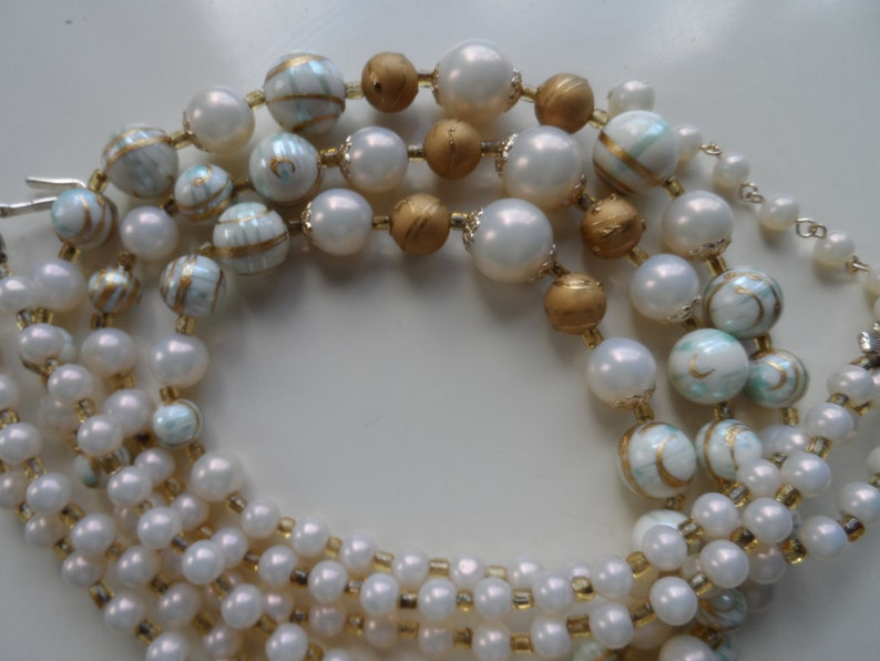 Plastic triple strand necklace graduated beads hand painted mid century blue gold