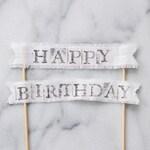 happy birthday linen cake banner