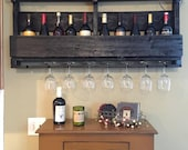 Pallet Wine Rack with Top - Wine Glass Holder - Pallet Wine Bar - Wall Organizer for Wine Glasses and Bottles
