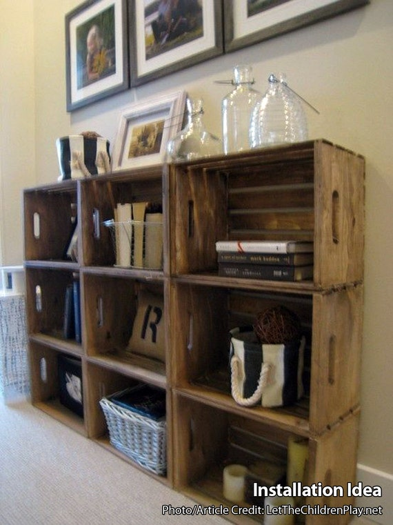 Wooden Crates For Building Shelves Stackable Wooden Crate Etsy