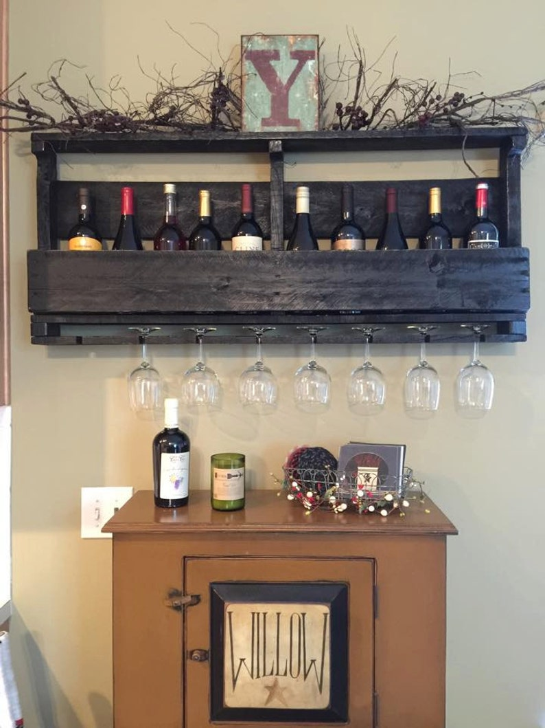 Pallet Wine Rack With Top Wine Glass Holder Pallet Wine Etsy