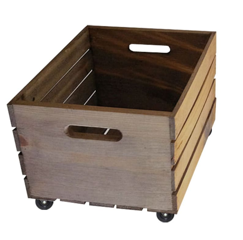 Rustic Wooden Crate on Wheels  Storage Crate Home Decor image 0