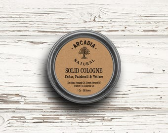 Cedar, Patchouli & Vetiver Solid Cologne in a Travel Tin, Vegan Cologne, Alcohol Free Cologne