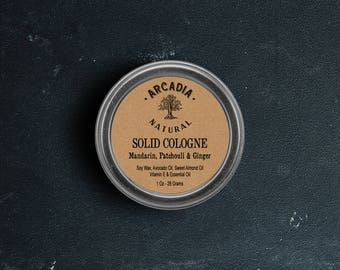 Solid Cologne in a Travel Tin, Vegan Cologne, Alcohol Free Cologne, Mandarin, Patchouli & Ginger