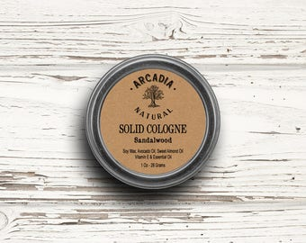 Sandalwood Solid Cologne in a Travel Tin,  Vegan Cologne, Alcohol Free Cologne, Sandalwood perfume, Men's Cologne