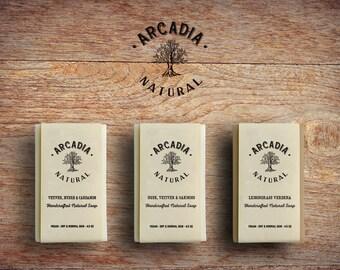 3 Handcrafted Soap Bars, Cold Process Soap, Moisturizing body soap, Natural Soap, Vegan Soap