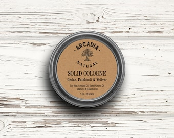 Solid Cologne in a Travel Tin, Vegan Cologne, Alcohol Free Cologne, Handmade natural cologne, Cedar, Patchouli & Vetiver