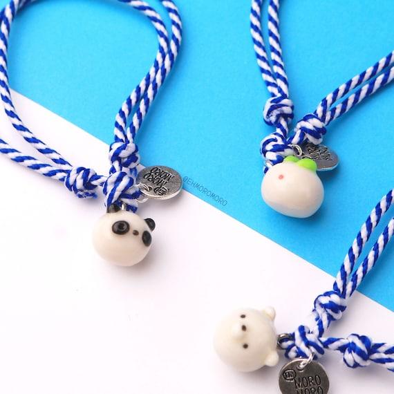 Mochi Bracelets Polymer Clay Gift Ideas Cute Kawaii Chick Bear Panda Cat Friendship Birthday Bracelets Handmade Halloween Christmas Gift Cat