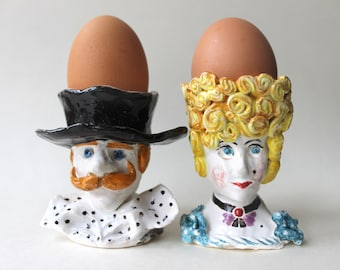 MADE TO ORDER Lady and Gentleman hand sculpted ceramic Egg Cups Set,Pottery hand painted Egg Holder, ceramic figurine Candle Holders