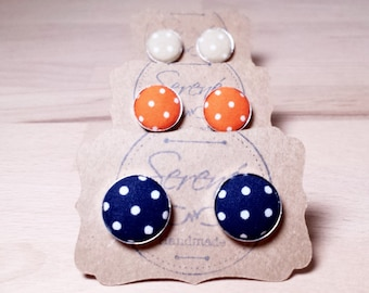 Polka dot cufflinks, blue polka dot cufflinks, orange polka dot cufflinks, beige polka dot cufflinks, fabric cufflinks, silver gold bronze
