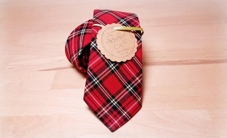 2,4 inch neck tie, scottish fantasy tie tartan tie with black white and yellow handmade neck tie Red tartan neck tie